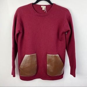 J. Crew burgundy sweater with faux leather pockets